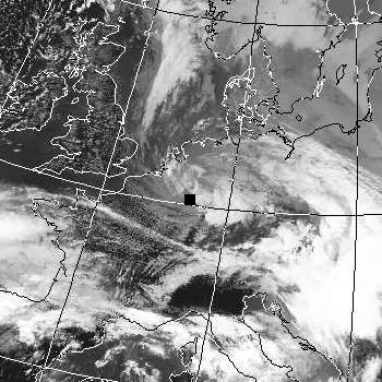 Satellitenbild (Infrarot, Ausschnitt) von NOAA 18 vom 03.03.2007, 12.57 UT