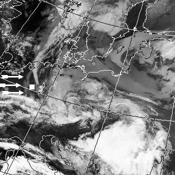 Satellitenbild (Infrarot, Ausschnitt) von NOAA 17 vom 03.03.2007, 20.14 UT