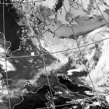 Satellitenbild (Infrarot, Ausschnitt) von NOAA 18 vom 04.03.2007, 01.11 UT
